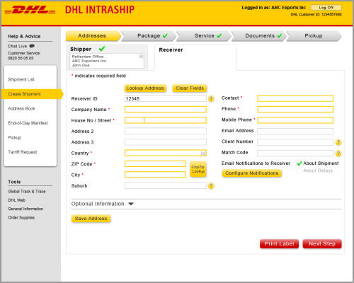 DHL Intraship - Enterprise Application UX Design